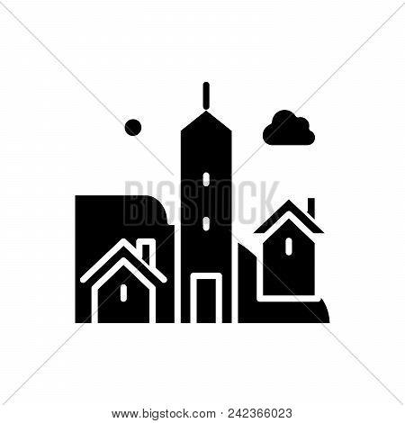City Life Black Icon Concept. City Life Flat  Vector Website Sign, Symbol, Illustration.