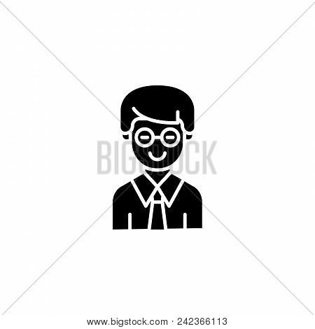 Clerk Black Icon Concept. Clerk Flat  Vector Website Sign, Symbol, Illustration.