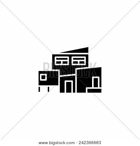 Complex Of Buildings Black Icon Concept. Complex Of Buildings Flat  Vector Website Sign, Symbol, Ill