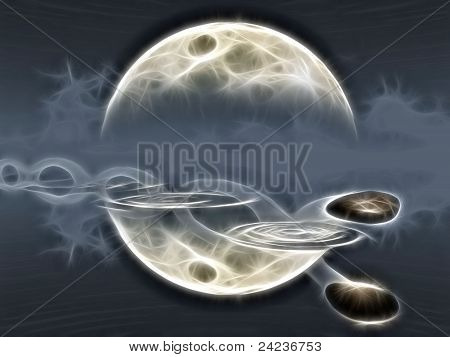 ricochets of a stone on water and moon