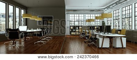Modern Large Brown Yellow Office Interior Design 3d Rendering Mock Up