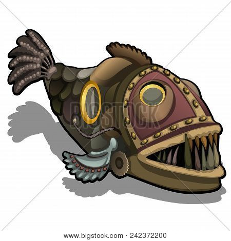 Fangtooth Fish In The Style Of Steam Punk Isolated On White Background.