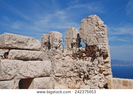 The ruins of the medieval Crusader Knights castle on the Greek island of Halki.
