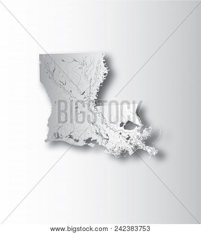 U.s. States - Map Of Louisiana With Paper Cut Effect. Hand Made. Rivers And Lakes Are Shown. Please