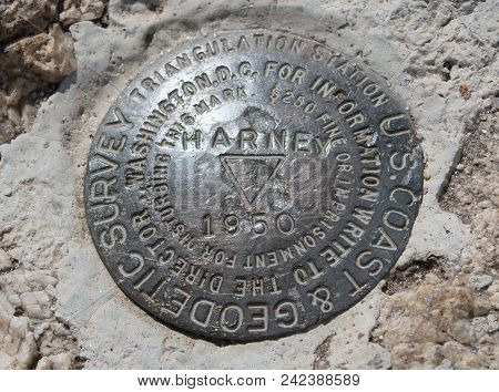 U.s. Geodetic Surveying Bench Mark / Land Marker At The Top Of Black Elk Peak / Harney Peak In Custe