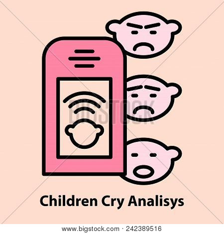 Line Icon Of Portable Baby Cry Analyzing. Device For Pregnancy Ultrasound Self Monitoring. Logo Conc