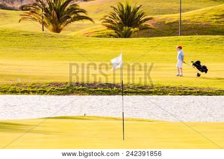 Golf Course With Gorgeous Green In Fuerteventura Spain Canary Islands