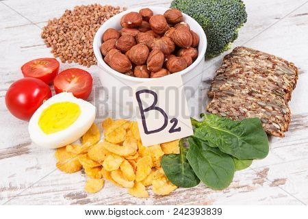Nutritious ingredients containing vitamin B2, dietary fiber and minerals, healthy nutrition concept poster