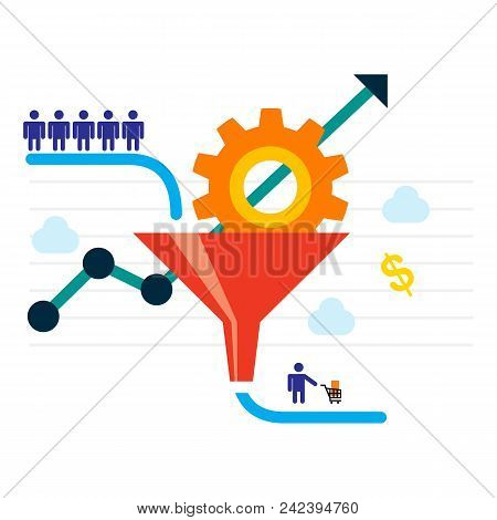 Conversion Optimization - Vector Illustration. Visitors Enter The Sales Funnel. Sales Funnel And Gro