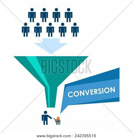 Conversion Flat Vector Illustration. Internet Marketing Infographics Element. Conversion Process Con