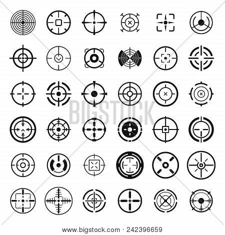Crosshair Target Scope Sight Icons Set. Simple Illustration Of 36 Crosshair Target Scope Sight Vecto