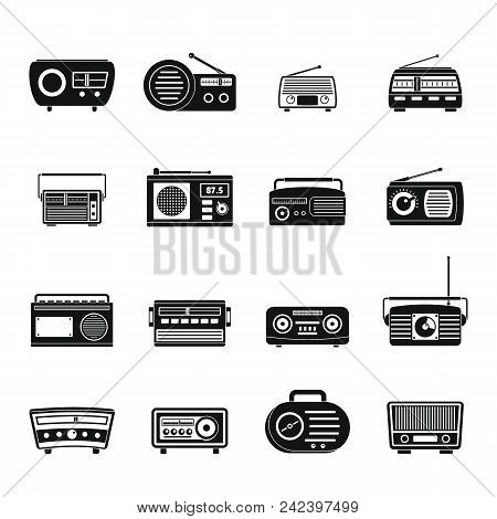 Radio Music Old Device Icons Set. Simple Illustration Of 16 Radio Music Old Device Vector Icons For