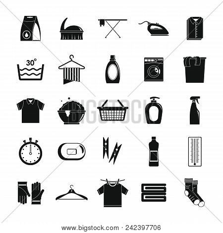 Laundry Service Icons Set. Simple Illustration Of 25 Laundry Service Vector Icons For Web