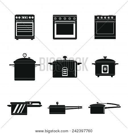 Cooker Oven Stove Pan Burner Icons Set. Simple Illustration Of 9 Cooker Oven Stove Pan Burner Vector