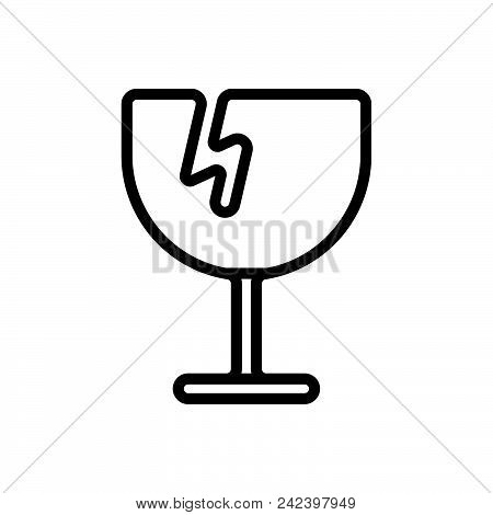 Broken Glass Vector Icon On White Background. Broken Glass Modern Icon For Graphic And Web Design. B