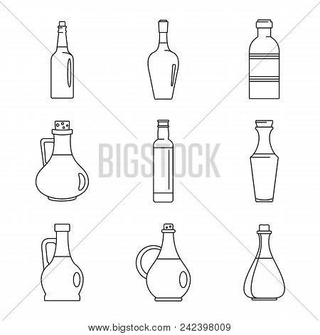Vinegar Bottle Icons Set. Outline Illustration Of 9 Vinegar Bottle Icons For Web