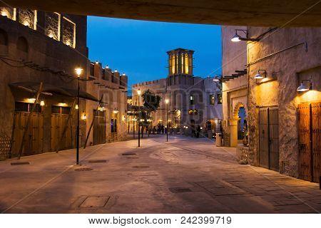 Dubai, United Arab Emirates - January 30, 2018: Al Fahidi Historical Neighborhood At Dusk, A Histori