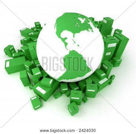 Green Earth Globe With Packages Oriented To America