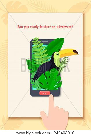 Tropical Paradise Paper Background With Leaves And Exotic Birds In Mobile Phone And Hand. Toucan Loo