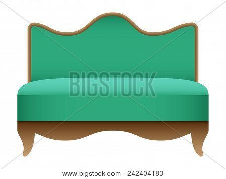 Royal Green Sofa Mockup. Realistic Illustration Of Royal Green Sofa Vector Mockup For Web Design Iso