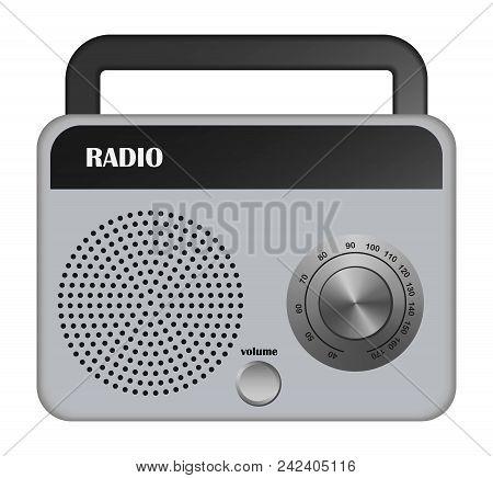 Grey Portable Radio Mockup. Realistic Illustration Of Grey Portable Radio Vector Mockup For Web Desi