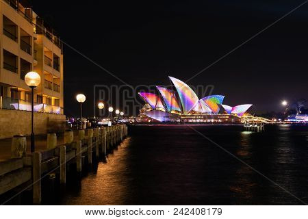 Sydney, Australia - May 25 2018: Sydney Opera House And The Waterfront Esplanade On The Opening Nigh