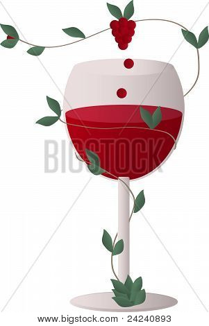 wine glass with a wine grapes