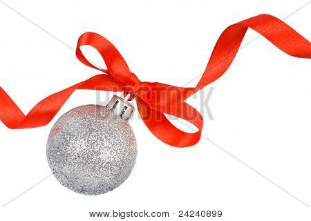 Christmas Silver Ball With Red Ribbon Isolated On White