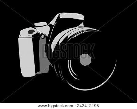 Slr Camera, Logo White On A Black Background