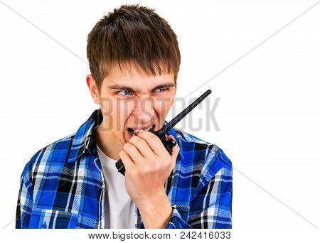 Angry Young Man With Portable Radio Isolated On The White Background