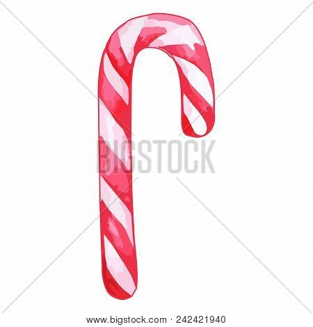 Christmas Sweet Peppermint Cinnamon Candy Cane Lollipop Pink White Isolated Vector
