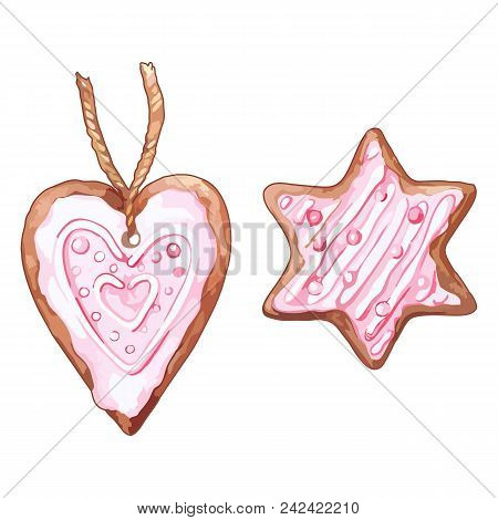 Watercolor Pink Heart Shaped Six-pointed Star Ginger Biscuit Isolated Vector Set