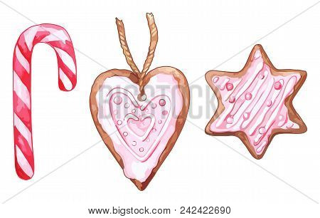 Watercolor Pink Heart Shaped Six-pointed Star Ginger Biscuit Candy Cane Lollipop Isolated Vector Set