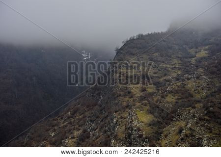 Panorama Of The Foggy Winter Landscape In The Mountains With Snow And Rocks, Azerbaijan, Lahic, Big