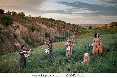 Female Musical Quartet With Three Violins And One Cello Plays On Flowering Meadow Against Backdrop O
