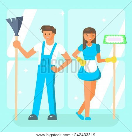 Cleaning Service Staff Characters In Blue Uniform. Male And Female Cleaners In Flat Cartoon Style Is