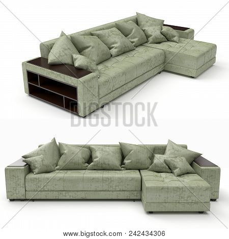 Modern Sofa Of Simple Shape. A Budget Option In Upholstered Furniture. Use For Minimalistic Interior