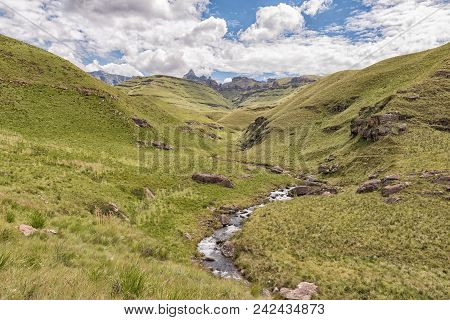 View From The Three Pools Hiking Trail At Garden Castle In The Drakensberg. Rhino Peak (3056m) Is Vi