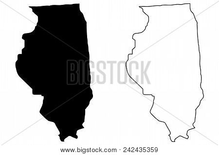 Illinois Map Vector Illustration, Scribble Sketch Illinois Map