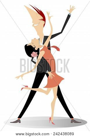 Dancing Young Couple Illustration Isolated. Romantic Dancing Young Man And Woman Isolated On White I