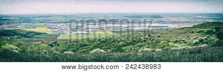Industrial Park In Nitra, Slovak Republic. Panoramic Photo. Seasonal Natural Landscape. Analog Photo