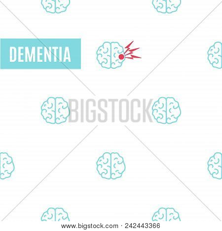 Dementia Pattern Poster. Medical Pattern Of Healthy Brains And One Affected By The Illness. Top View