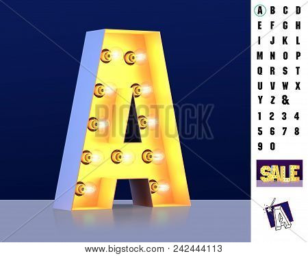 Letter A From Alphabet. Glowing Letter A. Bulb Type A. 3d Illuminated Light Bulb Symbol Letter A. Re