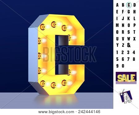 Letter C From Alphabet. Glowing Letter C. Bulb Type C. 3d Illuminated Light Bulb Symbol Letter C. Re