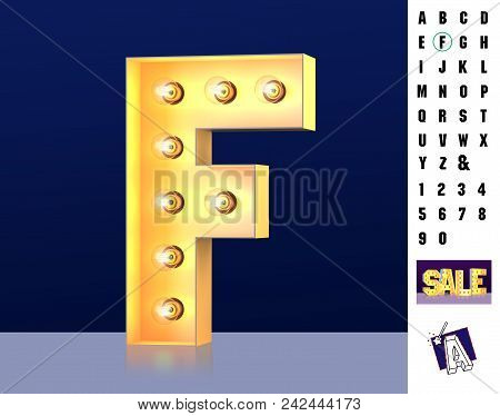 Letter F From Alphabet. Glowing Letter F. Bulb Type F. 3d Illuminated Light Bulb Symbol Letter F. Re