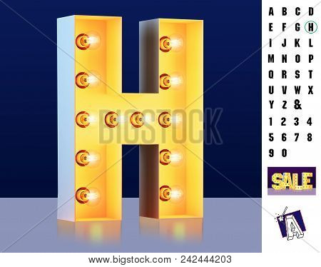 Letter H From Alphabet. Glowing Letter H. Bulb Type H. 3d Illuminated Light Bulb Symbol Letter H. Re