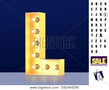 Letter L From Alphabet. Glowing Letter L. Bulb Type L. 3d Illuminated Light Bulb Symbol Letter L. Re