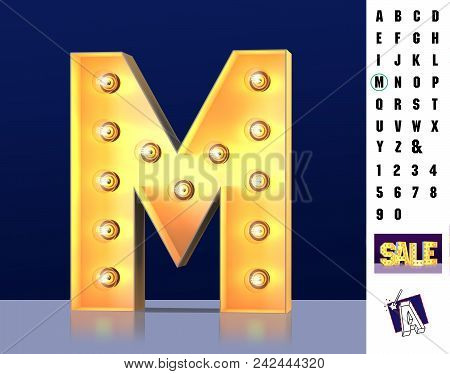 Letter M From Alphabet. Glowing Letter M. Bulb Type M. 3d Illuminated Light Bulb Symbol Letter M. Re