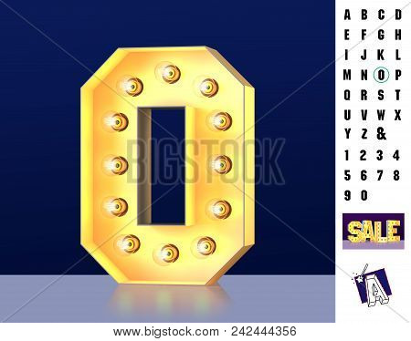 Letter O From Alphabet. Glowing Letter O. Bulb Type O. 3d Illuminated Light Bulb Symbol Letter O. Re