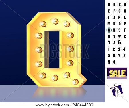 Letter Q From Alphabet. Glowing Letter Q. Bulb Type Q. 3d Illuminated Light Bulb Symbol Letter Q. Re